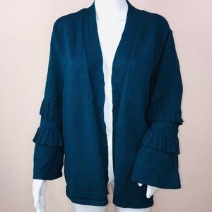 Alfani 2X Cardigan Sweater Teal Blue Ruffle Sleeve